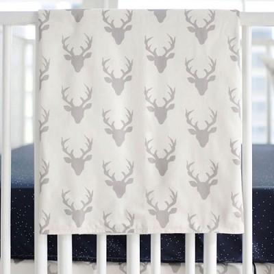 Gray Deer Baby Blanket | Buck Forest in Silver Crib Collection