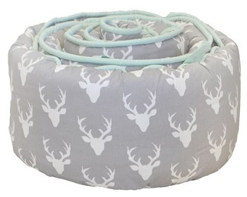 Mint and Gray Deer Bumper | Buck Forest in Mist Collection