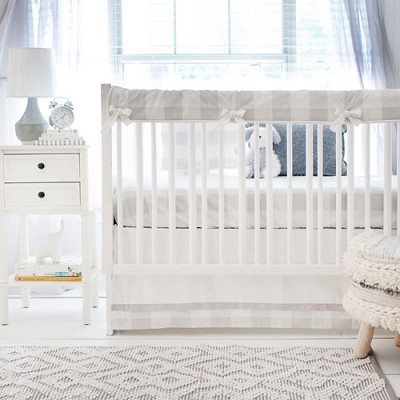 Gray Buffalo Check Bedding Set | Gray Baby Bedding Collection