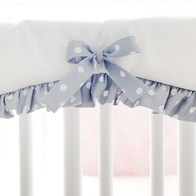 White and Gray Crib Rail Cover with Ruffle | Bunny Hop Bedding Collection