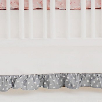 White and Gray Crib Skirt | Bunny Hop in Peach Collection