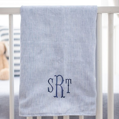 Navy Stripe Blue Baby Blanket | Washed Linen in Cape Cod Collection
