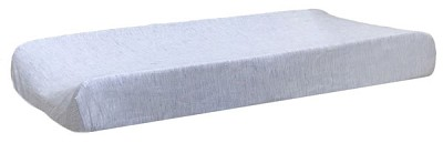 Navy Stripe Changing Pad Cover | Washed Linen in Cape Cod Crib Collection