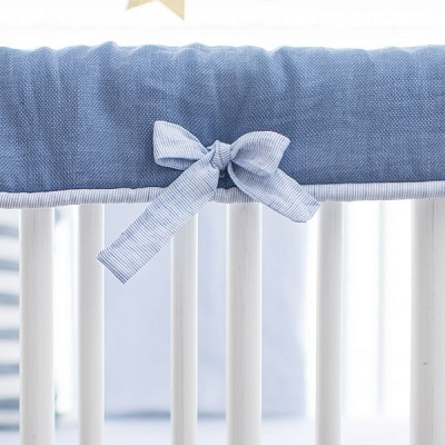 Navy Crib Rail Cover | Washed Linen Cape Cod Collection
