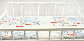 Red & Navy Map Changing Pad Cover  |  Around the World Crib Collection