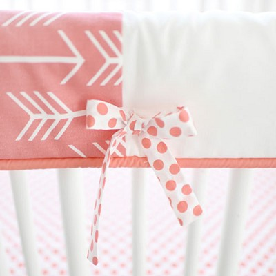 Coral Arrow Crib Rail Guard/Cover Only | Wanderlust in Coral Crib Collection