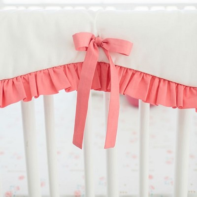 Scalloped Crib Rail Cover with Ruffle | White & Coral Collection