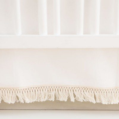 White Crib Skirt with Fringe