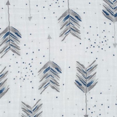 Navy and Gray Arrow Fabric | Shannon Fabrics Aim High Embrace in Steel