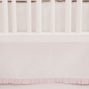 White Nursery Skirt with Pink Stripe Ruffle | Flamingo Baby Collection
