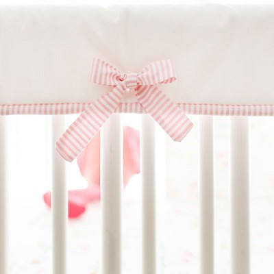 Pink and White Crib Rail Protector | Flamingo Island Bedding Collection