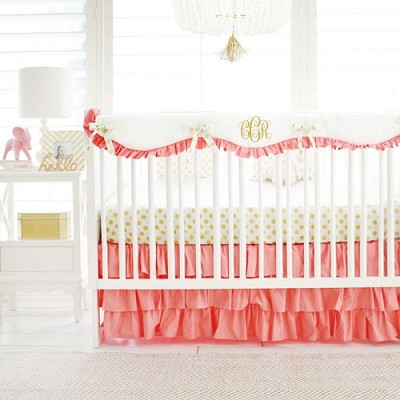 Coral Nursery Set | Gold Polka Dot in Coral Bumperless Collection