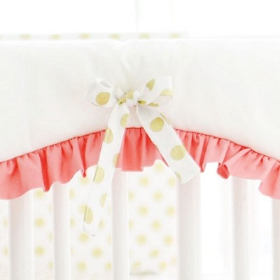 White Crib Rail Cover with Coral Ruffle & Gold Polka Dot Ties