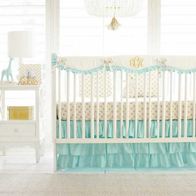 Gold and Mint Nursery Set | Gold Polka Dot in Mint Bumperless Collection