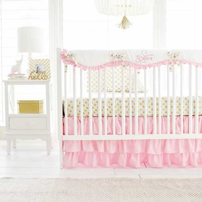 Pink and Gold Crib Rail Cover Set | Gold Polka Dot in Pink Crib Collection