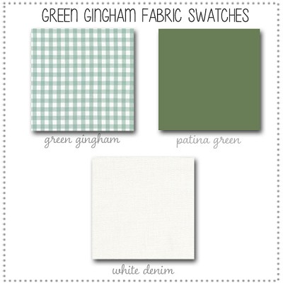 Green Gingham Crib Collection Fabric Swatches Only