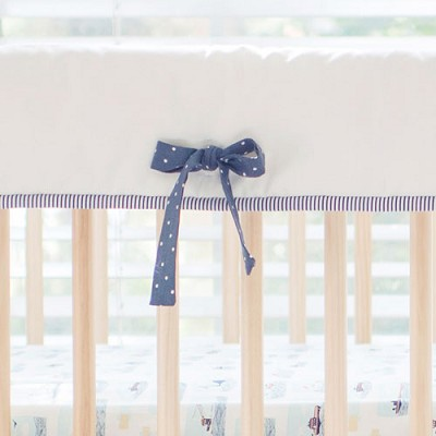 White and Navy Crib Rail Cover | Hook Line & Sinker Collection