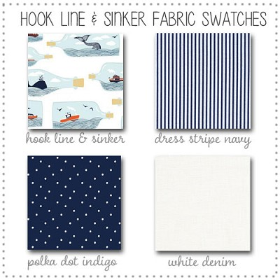 Hook Line and Sinker Crib Collection Fabric Swatches Only