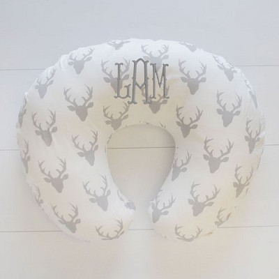 Gray Deer Nursing Pillow Slipcover | Buck Forest in Silver Crib Collection