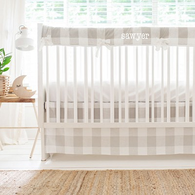 Khaki and White Buffalo Plaid Crib Bedding