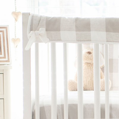 Short Side Crib Rail Guard | Khaki Buffalo Plaid Collection