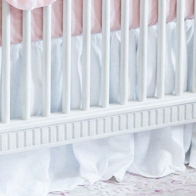 White Ruffle Linen Crib Skirt | Mackenlee Faire Crib Collection