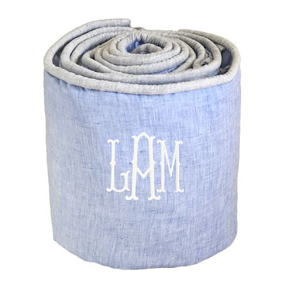 Blue and Gray Crib  Bumper | Washed Linen in Nantucket Collection