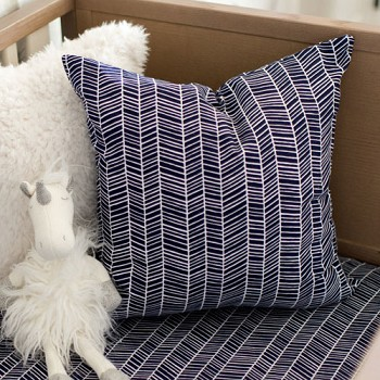 Navy Herringbone Pillow | Go Your Own Way Crib Collection