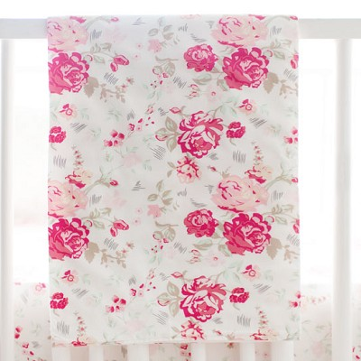 Vintage Floral Crib Blanket | Nostalgic Rose Bedding Collection