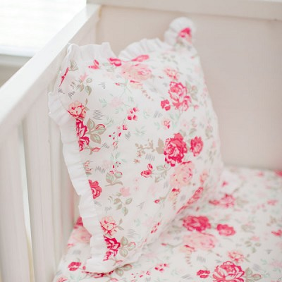 Pink Rose Pillow with Ruffle | Nostalgic Rose Collection