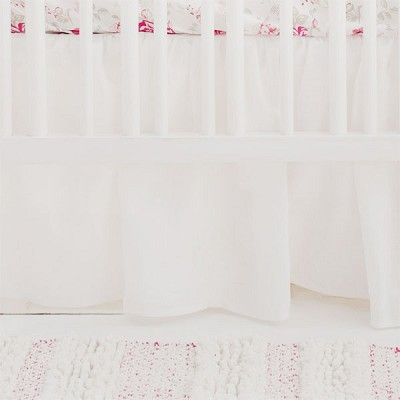 White Ruffle Linen Crib Skirt | Nostalgic Rose Collection