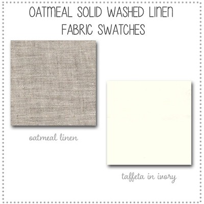 Washed Linen in Oatmeal Solid Crib Bedding Collection Fabric Swatches Only