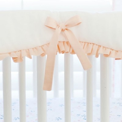 White and Peach Crib Rail Cover with Ruffle