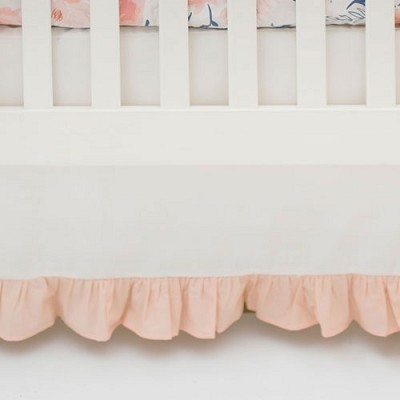 Ruffled Peach Crib Skirt | Rosewater in Peach Collection