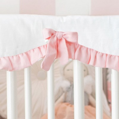 Blush and White Linen Crib Rail Guard