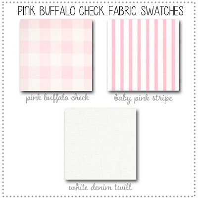 Pink Buffalo Plaid Baby Bedding Collection Fabric Swatches Only