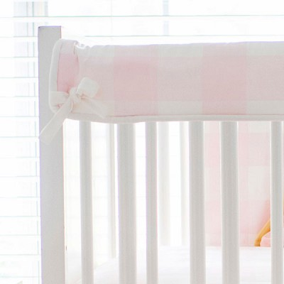 Short Side Crib Rail Guard | Pink Buffalo Plaid Collection