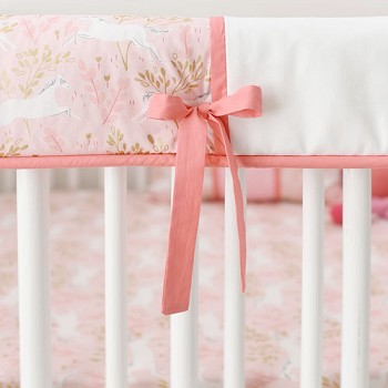 Pink & Gold Crib Rail Guard Cover Only | Unicorn in Pink Crib Collection
