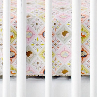 Pink Patchwork Woodland Crib Sheet | Born Wild in Pink Collection