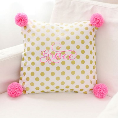 Gold Polka Dot Pillow with Hot Pink Pom Poms | Pom Pom Pillow Collection