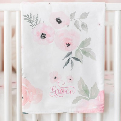 Floral Baby Blanket | Rose Bouquet Bedding Collection
