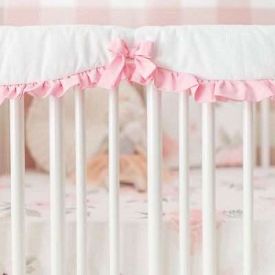 Scalloped Crib Rail Cover with Ruffle | Rose Bouquet Pink Collection
