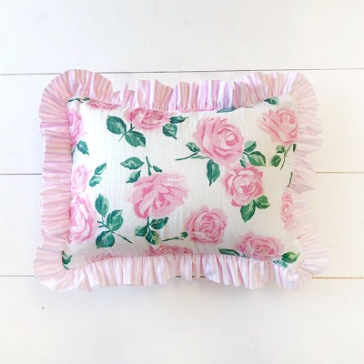 Pink Floral Pillow | Rose Garden Crib Collection