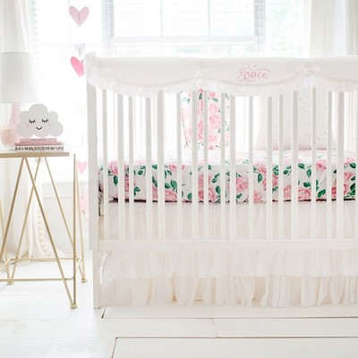 Pink and White Crib Bedding | Rose Garden in White Collection