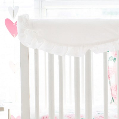 Short Side Crib Rail Guard | Rose Garden in White Collection