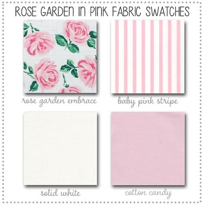 Rose Garden in Pink Crib Collection Fabric Swatches Only