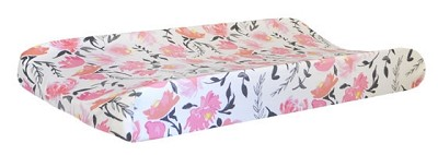 Floral Changing Pad Cover | Rosewater in Coral Collection