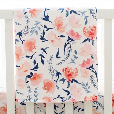 Floral Baby Blanket | Rosewater in Peach Crib Collection