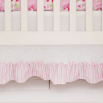 Linen Crib Skirt with Pink Stripe Ruffle | Sadie's Dance in Pink