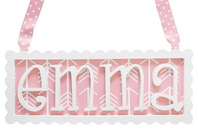 Scalloped Frame Personalized Plaque - 4 Letters